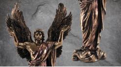 Archange Métatron, représentation de l'ange de médiation et de la littérature, en résine finition vieux doré laiton, collection Terre des Dieux, 37cm
