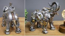 Eléphant en résine en version Steampunk, finition effet métal doré et cuivré, ambiance safari robotisé, 22cm