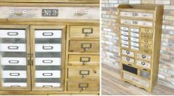Meuble de rangement en bois de style indus vintage, finition claire avec façades des 24 tiroirs habillées, 152cm