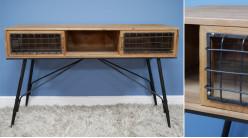Bureau d'appoint en bois de sapin et métal, deux compartiments latéraux vitrés, ambiance moderne vieille ferme, 120cm