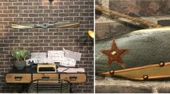 Hélice d'avion décorative en bois effet métal anthracite, ornements en cuir et métal, modèle Felixstowe 1915, 120cm