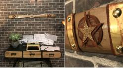 Hélice d'avion décorative en bois effet laiton brossé, ornement en métal et cuir, modèle Spad SVII de 1916, 120cm