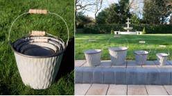 Série de quatre sots déco en métal, grandes anses de transport en bois, ambiance vieille ferme, cache-pots ou jardinière, Ø22cm