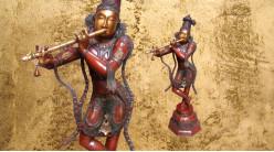 Représentation de la déese Krishna en laiton massif, sculpture de la divinité debout sur base, 41kg - 115cm