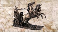 Achille, représentation en résine du héros légendaire de la guerre de Troie, en résine finition vieux bronze, collection Mythologie grecque, 19cm