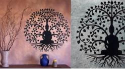 Peuplier figuier, grande décoration d'Arbre de la vie en forme de disque rond, en métal finition noir charbon, collection DMJ, Ø60cm