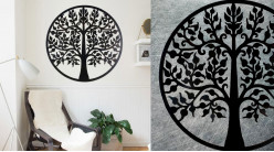Charme, grande décoration d'Arbre de la vie en forme de disque rond, en métal finition noir charbon, collection DMJ, Ø80cm