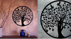 Séquoia, grande décoration d'Arbre de la vie en forme de disque rond, en métal finition noir charbon, collection DMJ, Ø60cm
