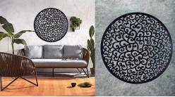 Pittosporum, grande décoration d'Arbre de la vie en forme de disque rond, en métal finition noir charbon, collection DMJ, Ø80cm
