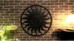 Soleil Incas, grande décoration murale en métal finition noir charbon, intérieur ou extérieur, de Ø82cm