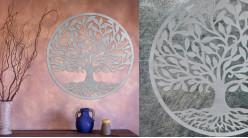 Horeria, grande décoration d'Arbre de la vie en forme de disque rond, en métal finition blanc ancien, collection DMJ, Ø82cm