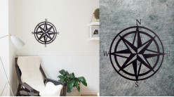 Rose des vents en métal à suspendre, ambiance marine moderne, finition noir charbon avec points cardinaux, Ø60cm