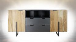 Grand buffet de style contemporain en bois d'acacia finition naturelle et métal, 195cm