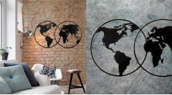 Grand planisphère mural en métal, très ajouré de style moderne contemporain, finition noir charbon, 100cm