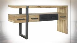 Console en bois d'acacia finition naturelle et métal de style contemporain, 145cm