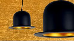 Suspension en métal en forme de chapeau melon finition noir charbon extérieur et doré cuivré intérieur, ambiance rétro moderne, Ø25cm