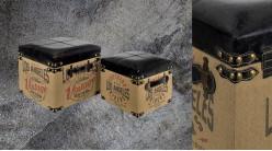 Série de 2 poufs/coffres carrés en bois et habillage polyester, impressions motifs Los Angeles effet ancien, 38cm