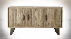 Buffet 3 portes en bois de manguier finition naturelle de style rustique, 140cm