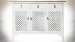 Buffet en bois de sapin finition blanche et naturelle ambiance campagne chic, 120cm