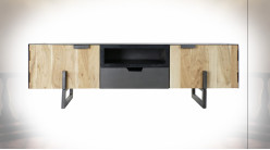 Meuble TV en métal et bois d'acacia finition naturelle de style contemporain, 165cm