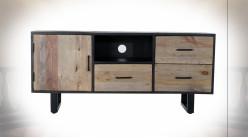 Meuble TV en bois de pin fintion naturelle et noire de style contemporain, 135cm