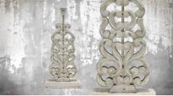 Pied de lampe en bois sculpté, modèle Bridgetown de 54cm, finition naturelle blanchie, ambiance sculpture en bois