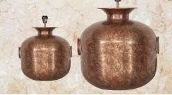 Pied de lampe en métal cuivré, modèle Manille de Ø42cm, finition brillante avec anses latérales, 50cm