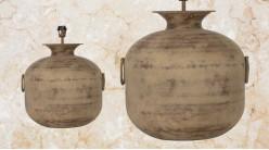 Pied de lampe amphore en métal, modèle Alger de Ø42cm, finition terre sableuse avec anses latérales, 50cm
