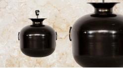 Pied de lampe amphore en métal modèle Prague de Ø42cm, finition charbon brillant avec anses latérales, 50cm