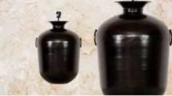 Pied de lampe amphore en métal, modèle Stockholm de Ø44cm, finition charbon brillant avec anses latérales, 66cm