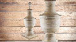 Pied de lampe amphore en bois, modèle Dallas de 69cm, finition naturelle effet blanchi, ambiance rustique et authentique