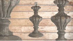 Pied de lampe amphore en bois, modèle Venise de 54cm, finition bois usé gris bleuté, ambiance vieille Italie