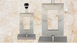 Pied de lampe contemporain en métal, modèle Arizona de 39cm, forme U rectangulaire sur socle finition chromée