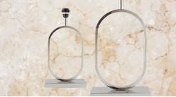 Pied de lampe contemporain en métal, modèle Delaware de 48cm, forme ovale sur socle finition chromée esprit trophée