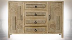 Buffet-commode en bois et corde finition naturelle blanchie de style ethnique, 123cm