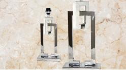 Pied de lampe contemporain en métal, modèle Indiana de 47cm, formes rectangulaires emboitées sur socle, finition chromée