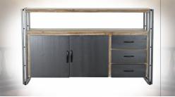 Buffet de style atelier moderne en bois de sapin finition naturelle blanchie et métal, 145cm