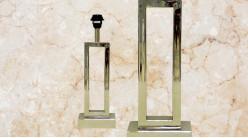 Pied de lampe contemporain en métal, modèle Louisiane de 45cm, forme de U étroit monté sur socle, finition chromée
