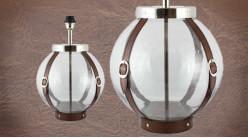 Pied de lampe authentique en verre et cuir, modèle Chypre de Ø30cm, base ronde avec ceintures en cuir véritable, 46cm