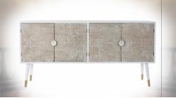 Buffet 4 portes en bois de sapin finition blanche et naturelle de style Indien, 160cm