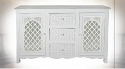 Buffet en bois de manguier finition blanche, façades de portes miroitées ambiance orientale, 122cm