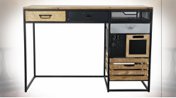 Bureau en métal noir et bois finition naturelle ambiance atelier, 110cm