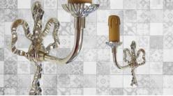 Base d'applique murale en métal en forme de noeud avec habillage chandelle, finition chromé effet brillant, 20cm
