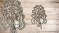 Base d'applique en bois sculpté de style baroque fintiion naturelle blanchie, 42cm