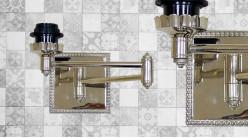 Base d'applique en métal finition chromée, modèle avec bras articulé de 43cm
