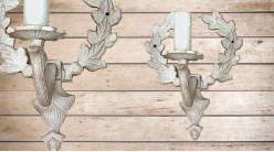 Applique en bois en forme de couronne de laurier, avec porte chandelle, finition blanchie naturelle, 21cm