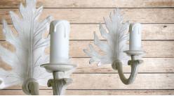 Base d'applique en bois sculpté en forme de feuille, finition blanc effet ancien, avec porte chandelle, 20cm