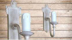 Base d'applique en bois finition blanchi de style romantique, avec porte chandelle, 24cm