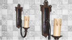 Base d'applique en bois finition vieux noir usé, forme de poignée de porte avec porte chandelle, 24cm