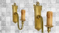 Base d'applique en bois finition doré ancien, forme de vieille poignée de porte, 22cm